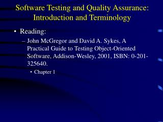 Software Testing and Quality Assurance: Introduction and Terminology