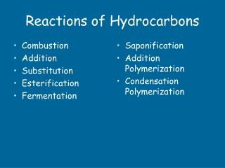 Reactions of Hydrocarbons