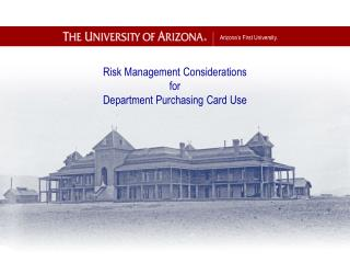 Risk Management Considerations for Department Purchasing Card Use