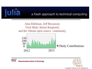 Alan Edelman, Jeff  Bezanson Viral Shah, Stefan  Karpinski and the vibrant open-source  community