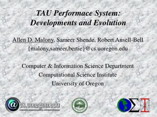 TAU Performace System: Developments and Evolution