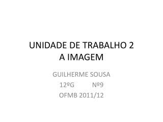 UNIDADE DE TRABALHO 2 A IMAGEM