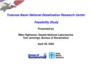 Tularosa Basin National Desalination Research Center  Feasibility Study