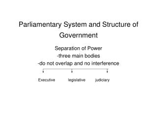 Parliamentary System and Structure of Government