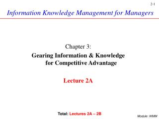 Information Knowledge Management for Managers