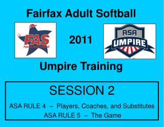 Fairfax Adult Softball 2011 Umpire Training