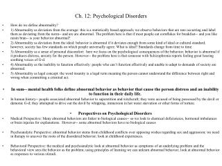 Ch. 12: Psychological Disorders
