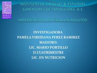 INVESTIGADORA PAMELA VIRIDIANA PEREZ RAMIREZ MAESTRO: LIC. MARIO PORTILLO II CUATRIMESTRE