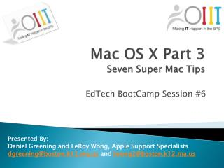 Mac OS X Part 3 Seven Super Mac Tips