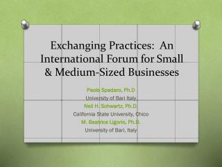 Exchanging Practices:  An International Forum for Small & Medium-Sized Businesses