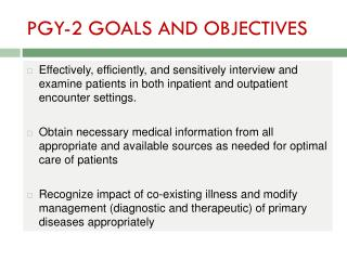 PGY-2 GOALS AND OBJECTIVES