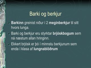 Barki og berkjur