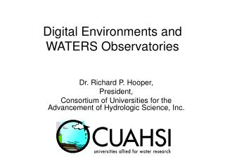 Digital Environments and WATERS Observatories
