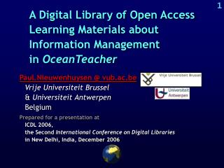 A Digital Library of Open Access Learning Materials about Information Management  in  OceanTeacher