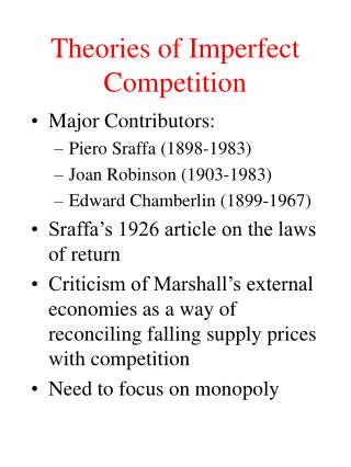 Theories of Imperfect Competition
