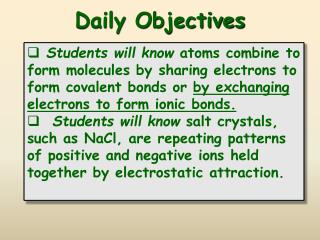 Daily Objectives