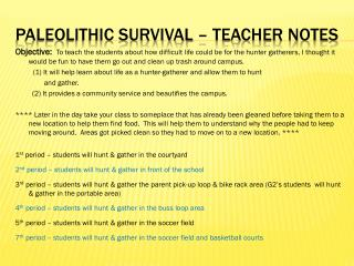 Paleolithic Survival – teacher Notes
