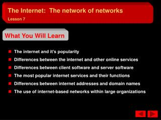 The internet and it�s popularity   Differences between the internet and other online services