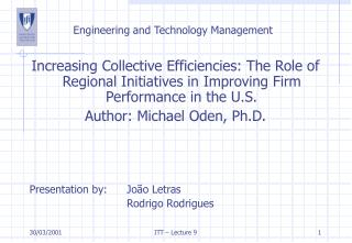 Engineering and Technology Management