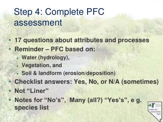 Step 4: Complete PFC assessment