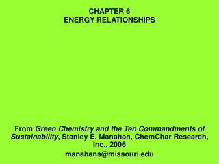 CHAPTER 6 ENERGY RELATIONSHIPS