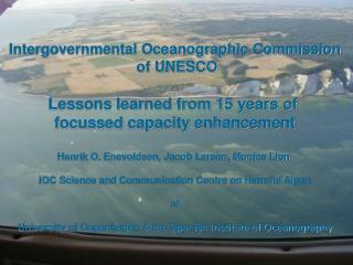 Intergovernmental Oceanographic Commission  of UNESCO Lessons learned from 15 years of