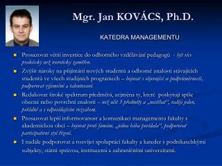 Mgr. Jan KOVÁCS, Ph.D.