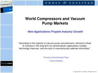 World Compressors and Vacuum Pump Markets  New Applications Propels Industry Growth