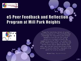 e5 Peer Feedback and Reflection Program at Mill Park Heights