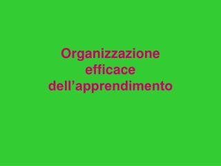 Organizzazione  efficace  dell�apprendimento