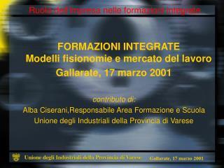 FORMAZIONI INTEGRATE Modelli fisionomie e mercato del lavoro