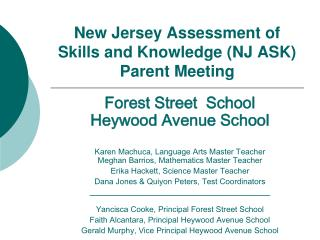 New Jersey Assessment of Skills and Knowledge (NJ ASK) Parent Meeting