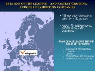BF IS ONE OF THE LEADING – AND FASTEST GROWING – EUROPEAN EXHIBITION COMPANIES
