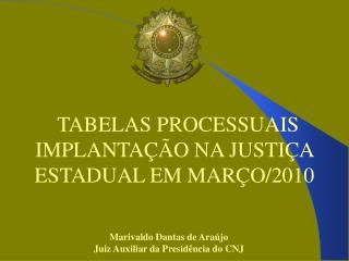 TABELAS PROCESSUAIS IMPLANTAÇÃO NA JUSTIÇA ESTADUAL EM MARÇO/2010