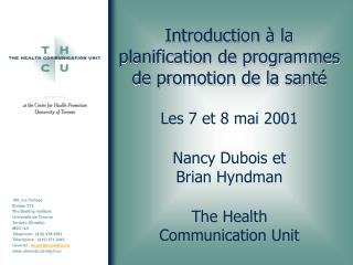 Introduction   la planification de programmes de promotion de la sant