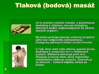 Tlaková (bodová) masáž