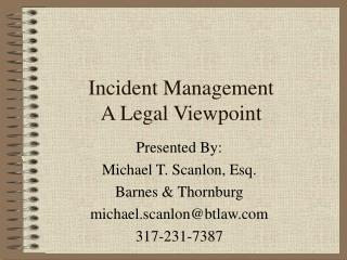 Incident Management A Legal Viewpoint