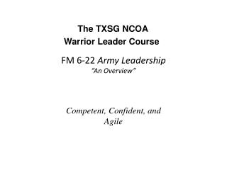 """FM 6-22  Army Leadership """"An Overview"""""""