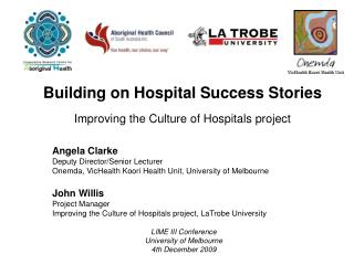 Building on Hospital Success Stories Improving the Culture of Hospitals project