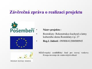 Závěrečná zpráva o realizaci projektu