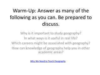 Warm-Up: Answer as many of the following as you can. Be prepared to discuss.