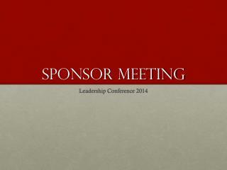 Sponsor Meeting
