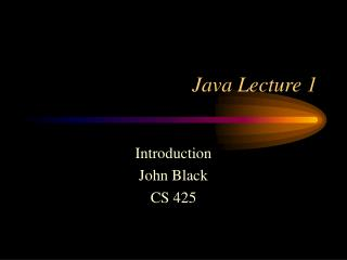 Java Lecture 1