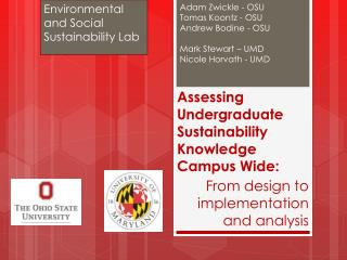 Assessing Undergraduate Sustainability Knowledge Campus Wide :