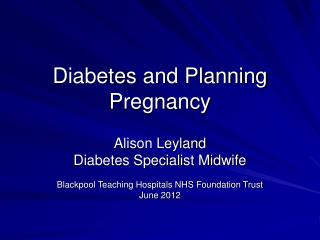 Diabetes and Planning Pregnancy