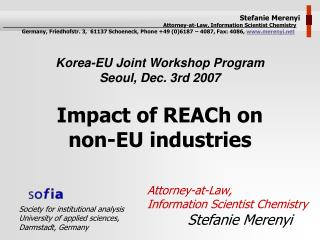 Impact of REACh on  non-EU industries