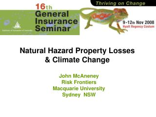 Natural Hazard Property Losses  & Climate Change