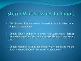 Storm Water Issues In Illinois