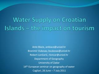 Water Supply on Croatian Islands – the impact on tourism