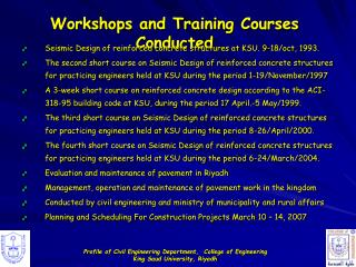 Workshops and Training Courses Conducted